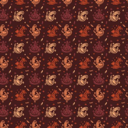 Happy birthday hand drawn pattern Background with brown color