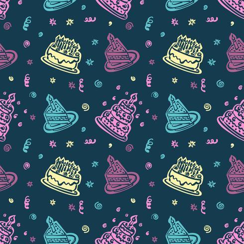 Feliz aniversário mão padrão desenhado fundo com cor pastel