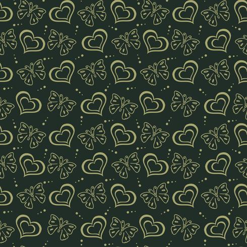 Butterfly love hand drawn Pattern green background vector