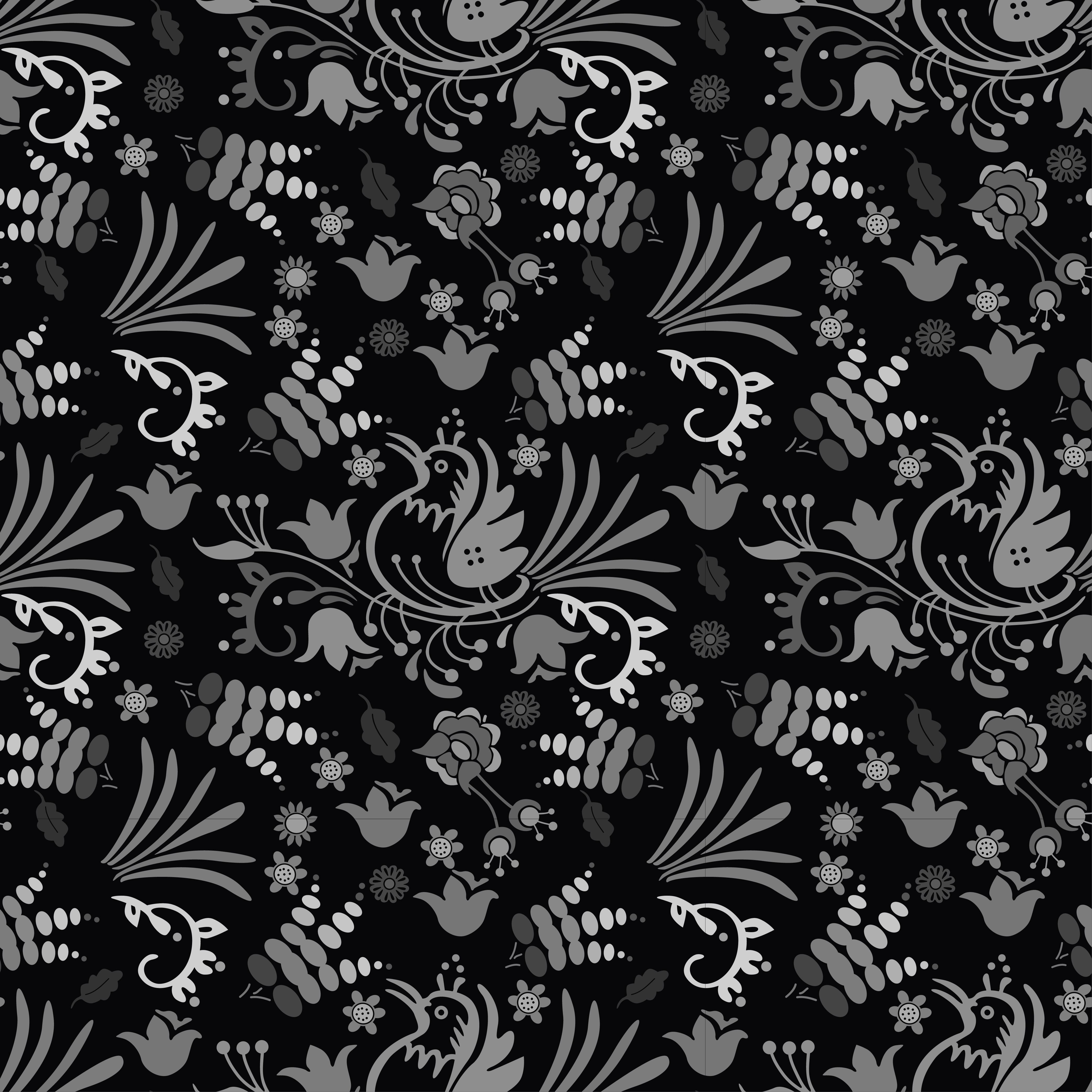Beautiful Bird Floral Pattern Background Hand Drawn With Dark