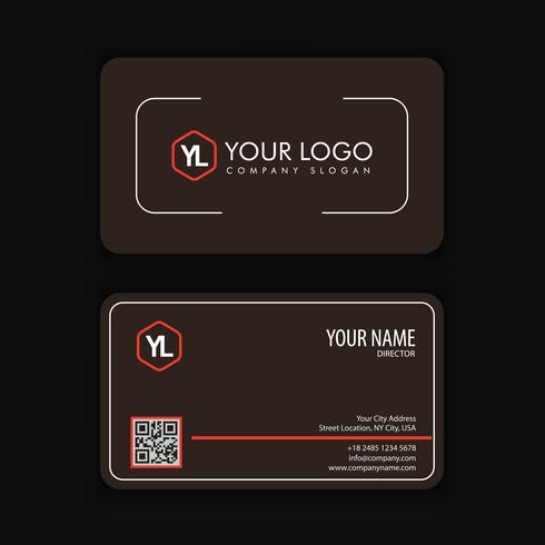 Modèle de carte de visite moderne créative et propre avec blackcolor rouge