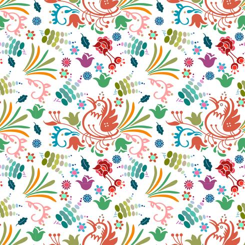 beautiful bird floral colorful pattern background hand drawn