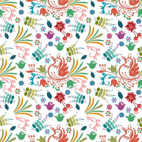 Dibujado a mano hermoso pájaro floral patrón de colores de fondo