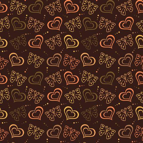 Modello disegnato a mano amore farfalla con colore marrone