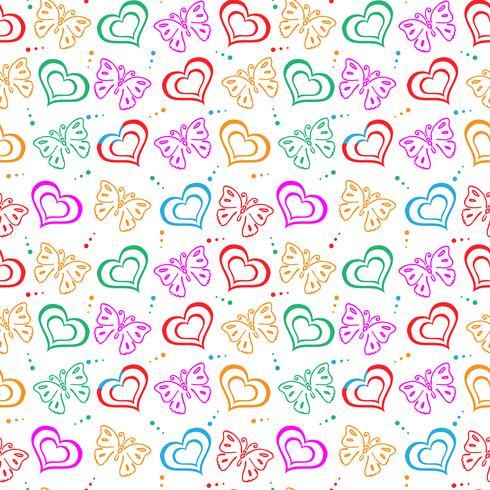 Modello disegnato a mano amore farfalla