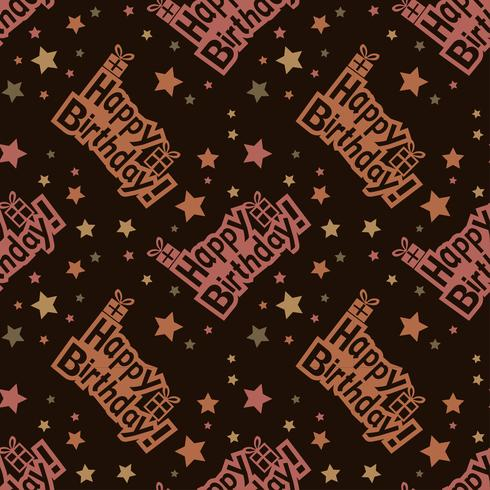 Happy birthday pattern Background with brown color