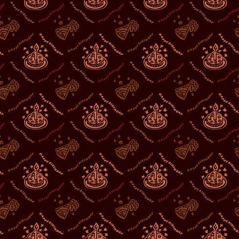 Feliz cumpleaños fondo dibujado a mano patrón con color marrón