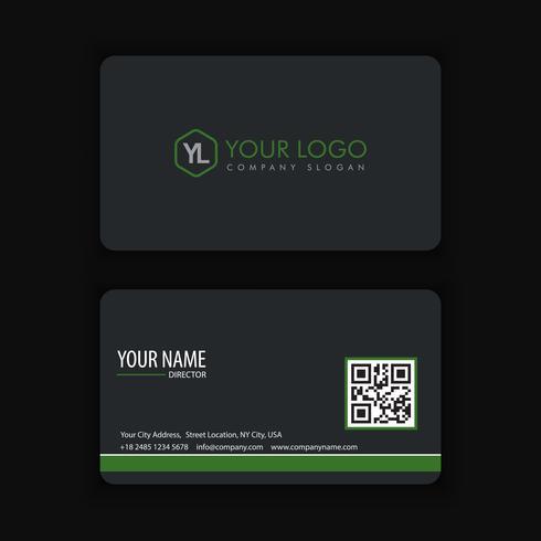 Modello moderno creativo e pulito del biglietto da visita con colore verde scuro