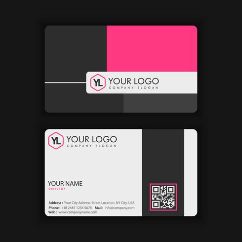 Moderne kreative und saubere Visitenkarte-Schablone mit rosa Dunkelheit