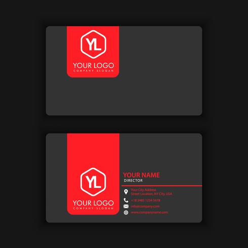 Modelo de cartão moderno criativo e limpo com blackcolor vermelho