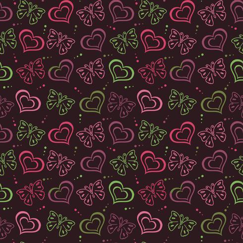 Borboleta amor mão desenhada padrão