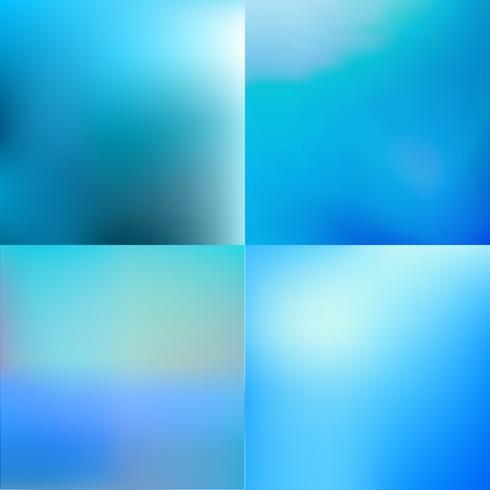 Conjunto de fundos abstratos coloridos azuis turva vector