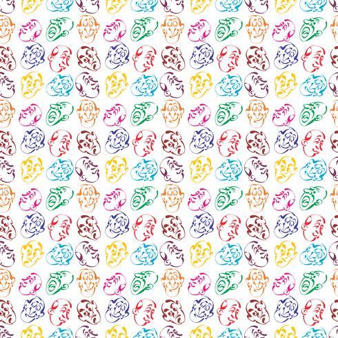 cara emoción mano dibujado patrón de fondo