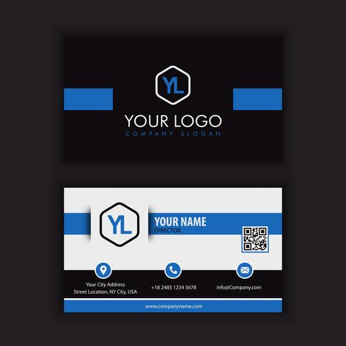 Modèle de carte de visite moderne créative et propre avec bleu noir