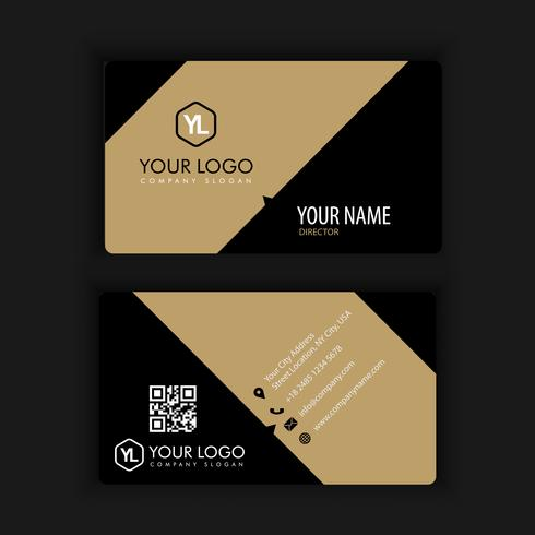 Moderna plantilla de tarjeta de visita creativa y limpia con color dorado oscuro