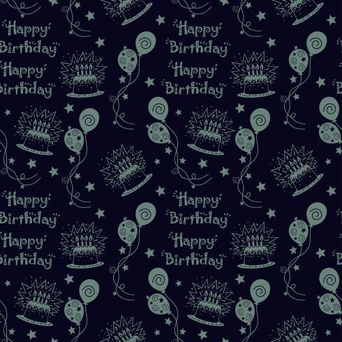 Fondo feliz cumpleaños patrón con color oscuro