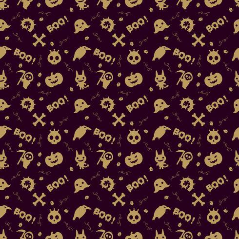 niedlicher Halloween-Musterhintergrund mit Goldfarbe