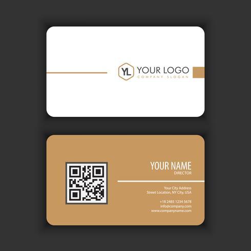 Moderna plantilla de tarjeta de visita creativa y limpia con color blanco marrón