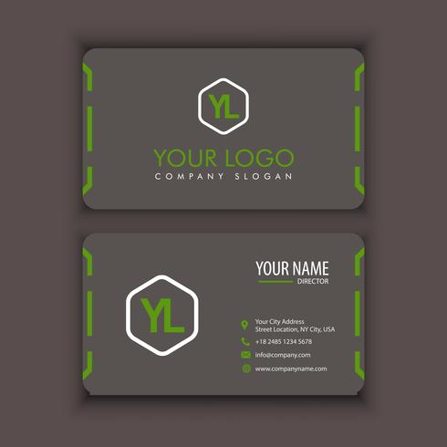 Vector moderno modello di biglietto da visita creativo e pulito con colore marrone verde