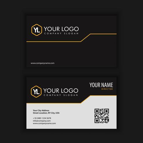 Moderna plantilla de tarjeta de visita creativa y limpia con bla amarillo