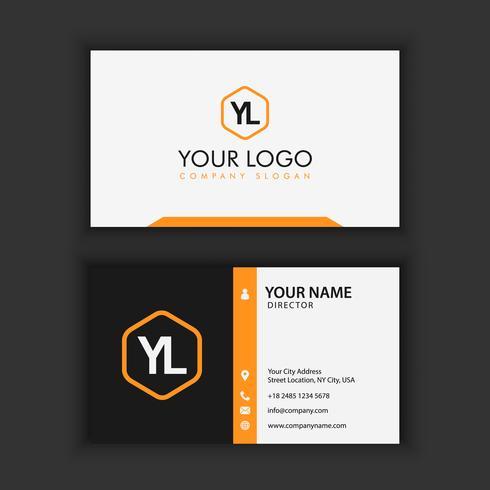 Moderna y limpia plantilla de tarjeta de visita con color negro naranja