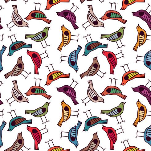 colorful bird hand drawn pattern background