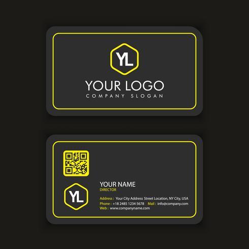 Sjabloon voor modern creatieve en schone visitekaartjes met gele lin