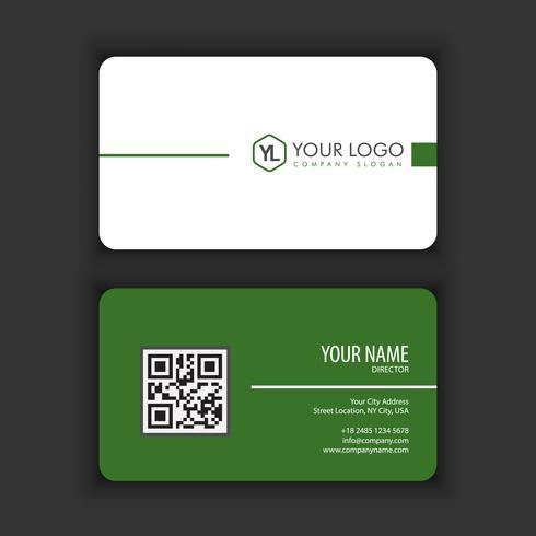 Moderna plantilla de tarjeta de visita creativa y limpia con color verde