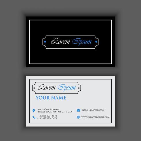Vintager Luxus und saubere Visitenkarte-Schablone mit Farbe des blauen Schwarzen