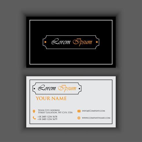 modèle de carte de visite vintage de luxe et propre avec orange noircolor