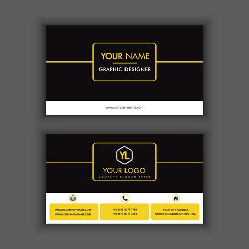 Moderne kreative und saubere Visitenkarte-Schablone mit Farbe der gelben Linie