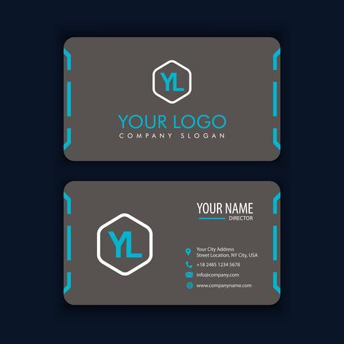 Modello di biglietto da visita creativo e pulito moderno con il nero blu
