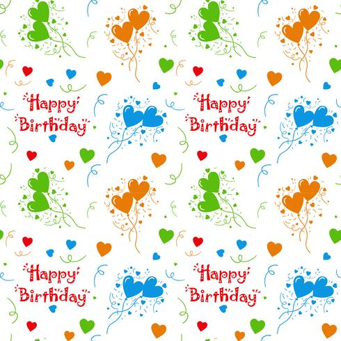 Feliz aniversário colorido padrão de fundo