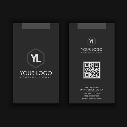 modèle de carte de visite créative et propre moderne vertical avec couleur sombre