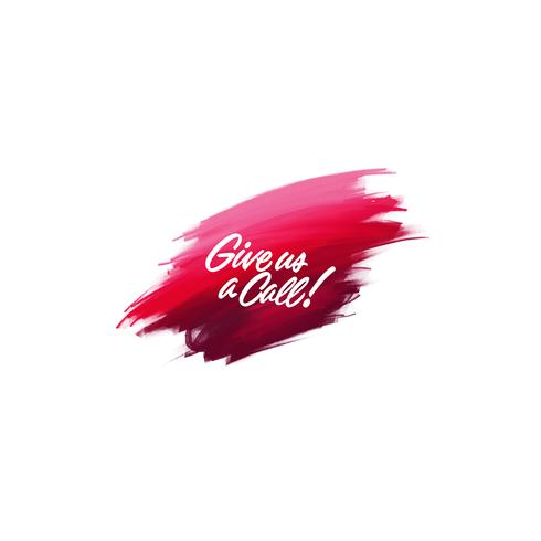 Hand-written lettering brush phrase Give us a call with watercolor background