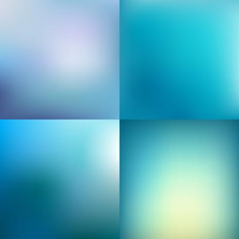 Satz abstrakte bunte blaue unscharfe Vektorhintergründe