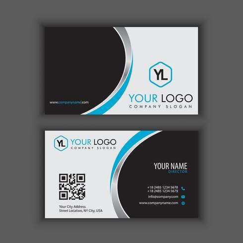 Moderna plantilla de tarjeta de visita creativa y limpia con color cromo azul