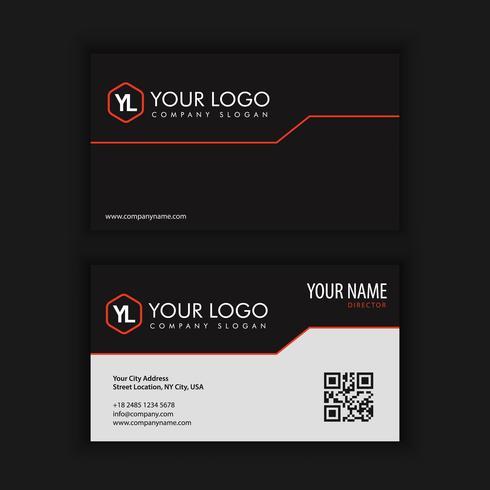 Moderna plantilla de tarjeta de visita creativa y limpia con color negro rojo