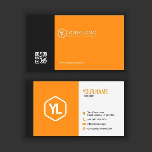 Modello moderno creativo e pulito del biglietto da visita con colore nero arancio