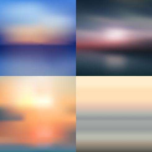 sea summer sky blurred background set vector