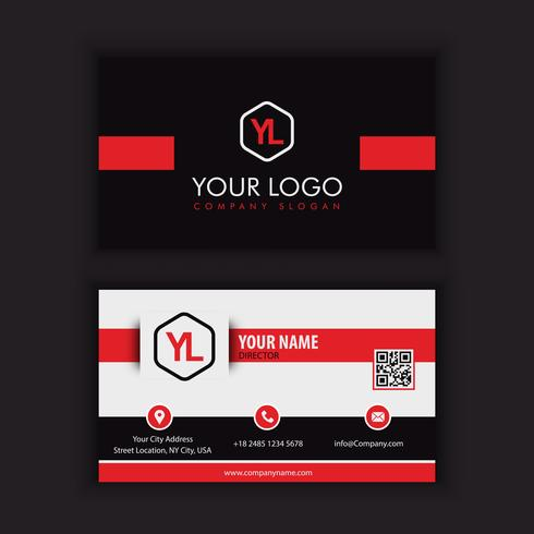 Moderne kreative und saubere Visitenkarte-Schablone mit rotem blac kcolor