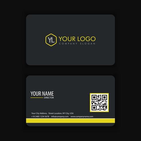 Modello di biglietto da visita creativo e pulito moderno con colore della linea gialla