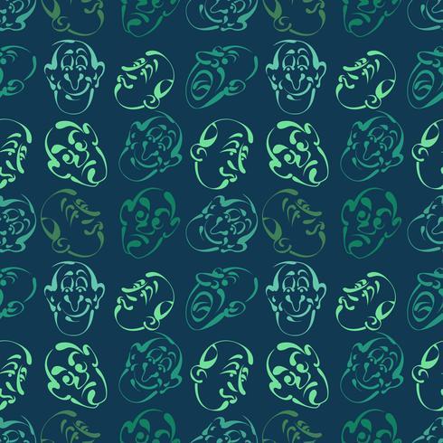 emozione faccia disegnata a mano modello sfondo con colore blu