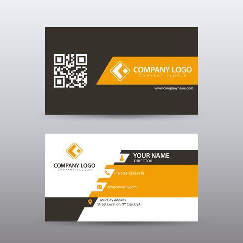 Molde criativo e limpo moderno do cartão de visita com cor preta alaranjada. Vetor totalmente editável.