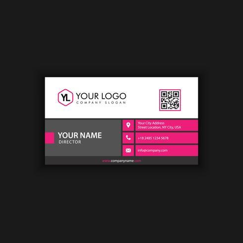 Modèle de carte de visite moderne créative et propre avec la couleur rose noire