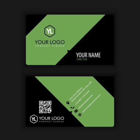 Modelo de cartão moderno criativo e limpo com verde escuro