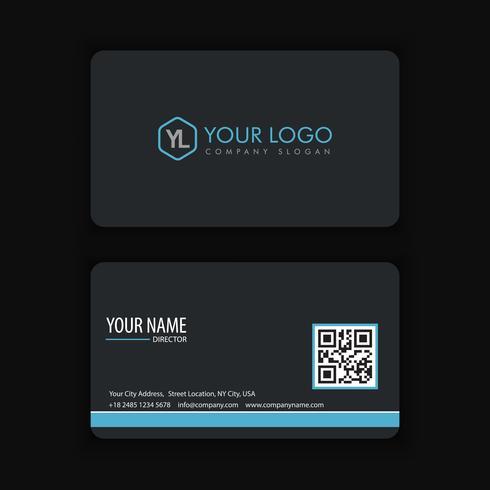 Modèle de carte de visite moderne créative et propre avec bleu foncé