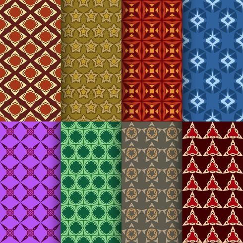 Set van naadloze decoratieve geometrische vormen patroon