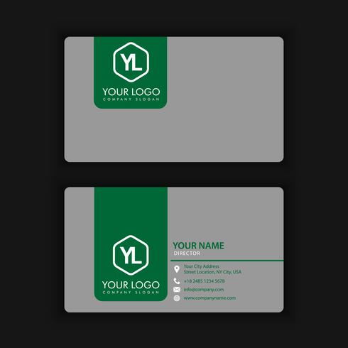 Modern Creative and Clean Business Card Template with green blac