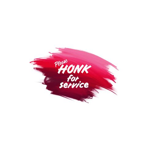 Handschriftliche Schrift Pinsel Satz Honk für den Service mit Aquarell Hintergrund